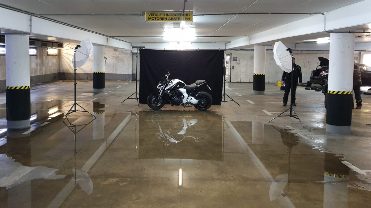Mobiles Motorrad-Studio (Foto-Hintergrundsystem)