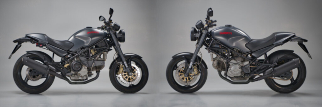 Studiofoto einer Ducati Monster 900 (Seitenansicht rechts + links)